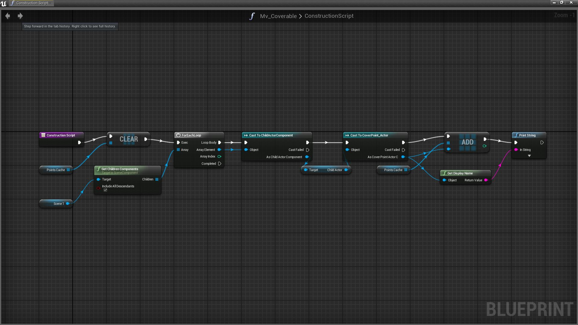 Using blueprints in unreal engine 4 screenshot of base class cover point capture method malvernweather