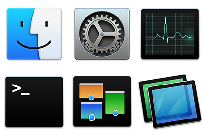 Square Icons: Finder, System Preferences, Activity Monitor, Terminal, Mission Control, Screen Sharing