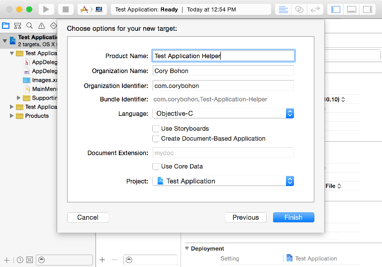 Screenshot showing Xcode Projects and Targets sidebar and adding a new target