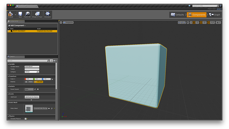 Components Tab of Blueprint Editor after adding cube