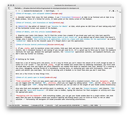 Photo of BBEdit, with this article loaded