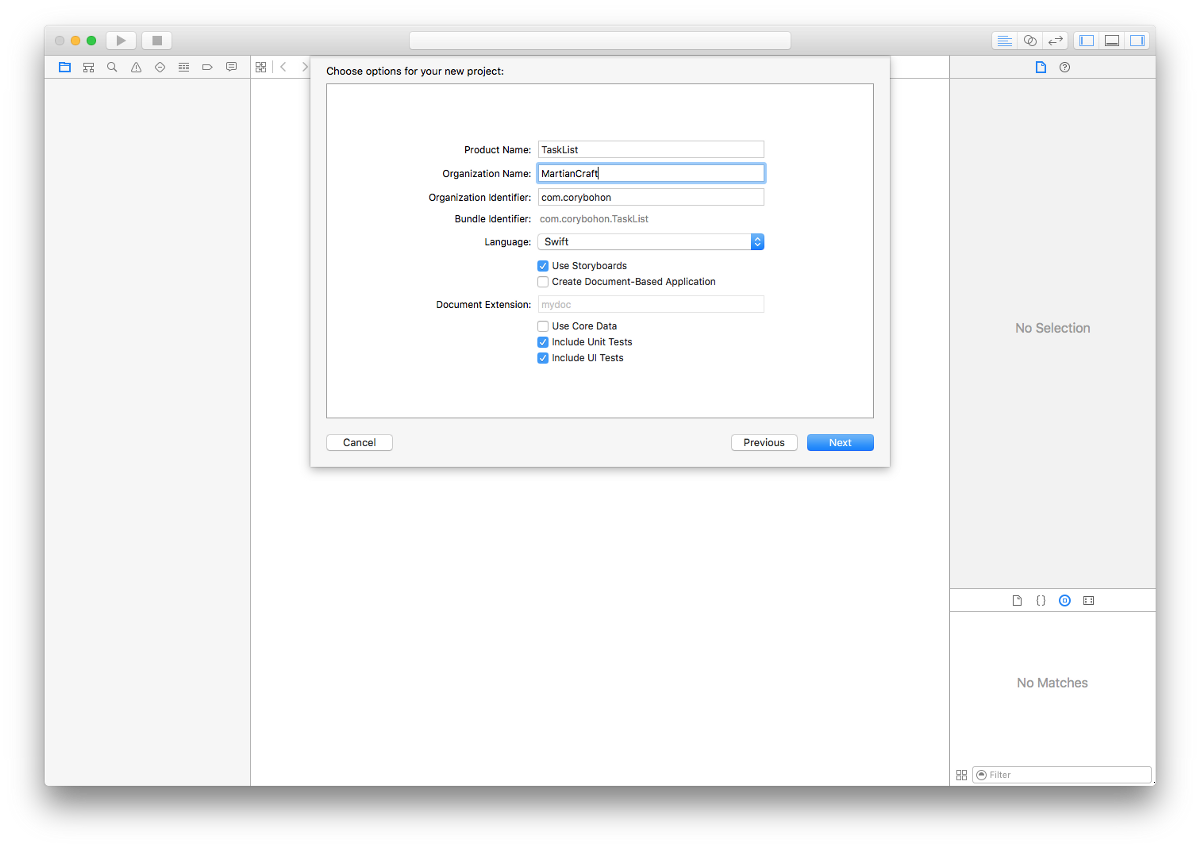 Creating a new Mac app in Xcode using the Cocoa application project type.