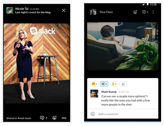 Screenshot of slack ios and android app