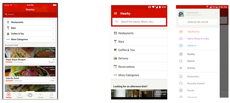 Screenshot of yelp ios and android app