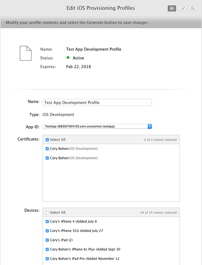 Creating the provisioning profile in the developer portal.