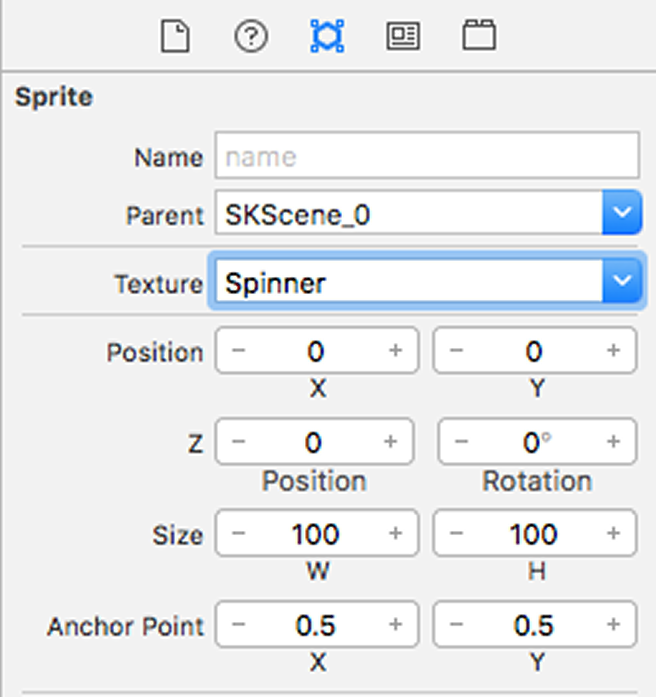 Setting the spinner image in the SpriteKit editor Attributes Inspector