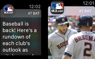 MLB At Bat notifications with and without images