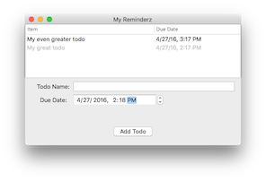 The single-window user interface for the Reminderz app you'll build in this tutorial.