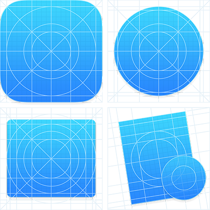 iOS icon grid, OSX Circle icon grid, OSX square icon grid, OSX tilted rectangle icon grid