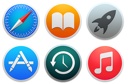 Circle Icons: Safari, iBooks, Launchpad, AppStore, Time Machine, iTunes