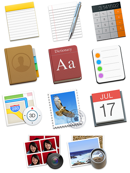 Tilted Rectangle Icons: Notes, TextEdit, Calculator, Contacts, Dictionary, Messages, Maps, Mail, Calendar, Photo Booth, Preview