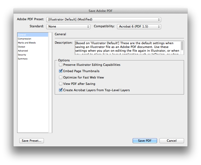 Screenshot of Adobe Illustrator showing the export settings.