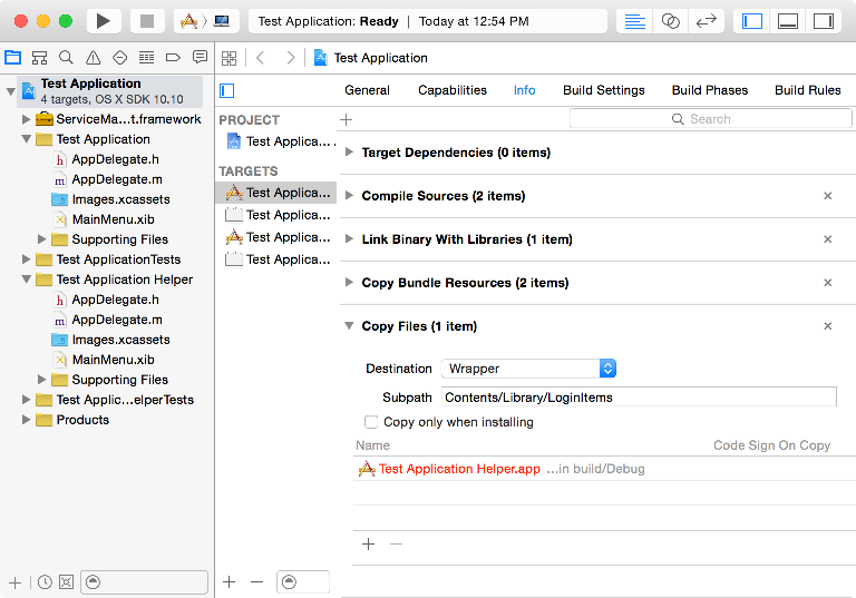 Screenshot showing setting the Copy Files phase for the base app