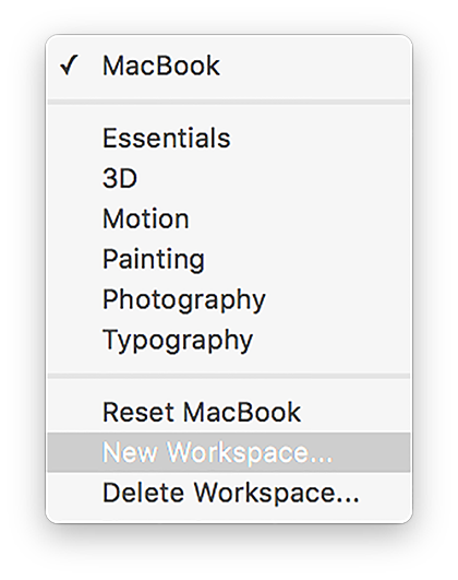 The workspaces menu in Photoshop