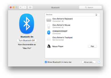 Screenshot of Bluetooth Preferences