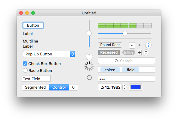 Screenshot of all the UI objects available in Xcode and Interface Builder