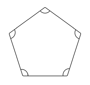 A regular pentagon showing the internal angles