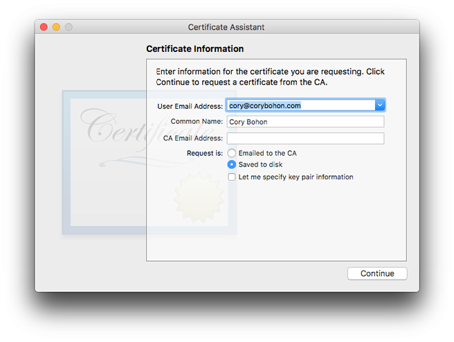 Creating a signing request in Keychain Access.