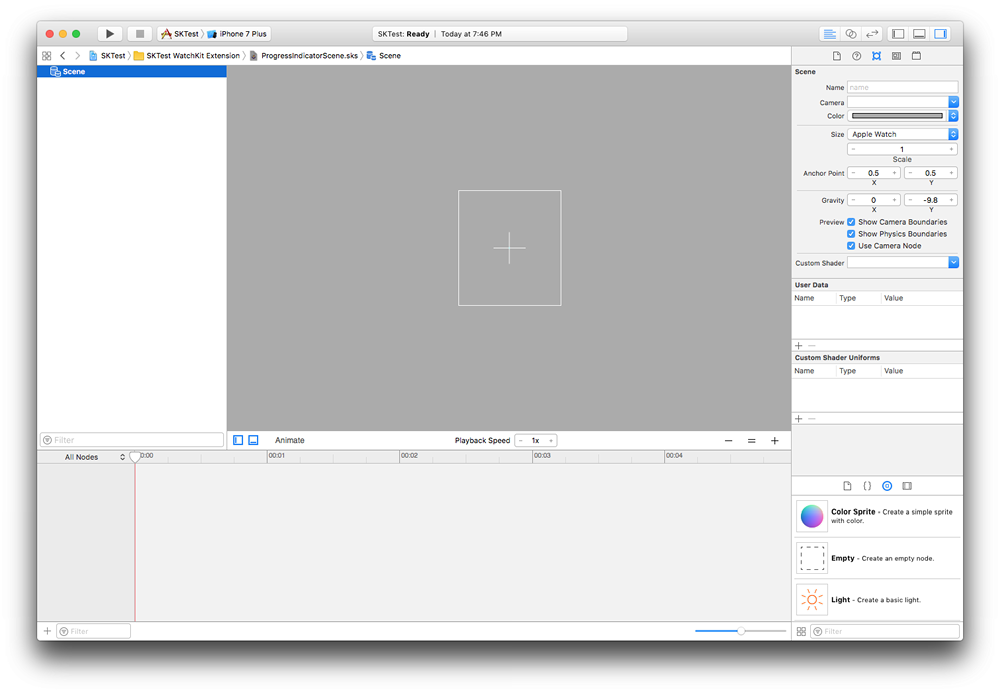 The visual SpriteKit editor